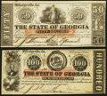 Obsoletes By State:Georgia, Milledgeville, GA- State of Georgia $100 Feb. 1, 1863 Cr. 6B; $50 Jan. 15, 1865 Cr. 32 Extremely Fine; Crisp Uncirculated.... (Total: 2 notes)