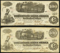 Confederate Notes:1862 Issues, T40 $100 1862 PF-1 Cr. 298 Two Examples Extremely Fine or Better.. ... (Total: 2 notes)