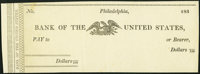 Philadelphia, PA- Bank of the United States (Second) Check 183_ Remainder Extremely Fine