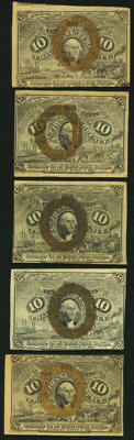 Eric P. Newman Collection 10¢ Second Issue. Five Examples. Very Fine or better. ... (Total: 5 notes)