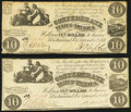 Confederate Notes:1861 Issues, T28 $10 1861 Two Examples Fine-Very Fine or Better.. ... (Total: 2 notes)