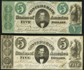Confederate Notes:1861 Issues, T33 $5 1861 PF-7 Cr. 254Ba Very Fine;. T34 $5 1861 PF-3 Cr. 264 Very Fine.. ... (Total: 2 notes)