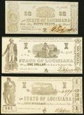 Shreveport, LA- State of Louisiana 50¢; $1; $1; Mar. 1, 1864 Cr. 21; 16; 17 About Uncirculated or Better. ... (Tota...