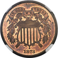 1873 2C Closed 3 PR64 Red and Brown NGC. CAC....(PCGS# 3652)