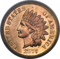 1877 1C PR63 Red and Brown PCGS. CAC....(PCGS# 2319)