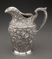A Schofield Mfg. Co. Baltimore Rose Pattern Repoussé Silver Water Pitcher, Baltimore