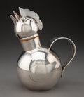 Silver & Vertu, A Napier Art Deco Silver-Plated Brass and Cork Rooster-Form Cocktail Shaker, Meriden, Connecticut, circa 1945. 9-5/8 x 7-1/4...