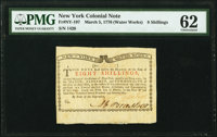 New York March 5 , 1776 (Water Works) 8s PMG Uncirculated 62