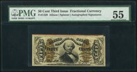 Fr. 1329 50¢ Third Issue Spinner PMG About Uncirculated 55