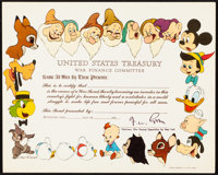 "Disney Themed War Treasury Bond (1940s). Folded, Very Fine/Near Mint. Treasury Bond (10"" X 8""). Animation"