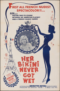 "Her Bikini Never Got Wet (Gaston Hakim International, 1962). Folded, Fine/Very Fine. One Sheet (27"" X 41""). Se..."