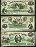 Columbia, SC- State of South Carolina $10; $20; $50 Mar. 2, 1872 Crisp Uncirculated or Better. ... (Total: 3 notes)
