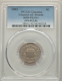 1883 5C Repunched Date, FS-311, -- Cleaning -- PCGS Genuine. AU Details. (FS-012.8). Mintage 1,456,919. ...(PCGS# 38411)