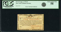 New York August 2, 1775 (Water Works) 4s PCGS Choice About New 58