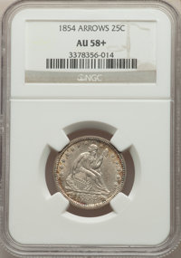 1854 25C ARROWS AU58+ NGC. NGC Census: (99/242 and 4/0+). PCGS Population: (95/238 and 0/6+). CDN: $375 Whsle. Bid for N...