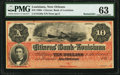 New Orleans, LA- Citizens' Bank of Louisiana $10 186_ Remainder PMG Choice Uncirculated 63