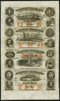 Obsoletes By State:Nebraska, Omaha City, NE- Western Exchange Fire & Marine Insurance Co. $1-$2-$3-$5 Nov. 2, 1857 Owen 22-7-8-9-10 Uncut Sheet Gem Cri...