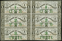 Baton Rouge, LA- State of Louisiana $1-$2-$3-$1-$2-$3 Feb. 24, 1862 Uncut Sheet Extremely Fine-About Uncirculated