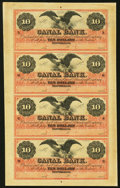 Obsoletes By State:Louisiana, New Orleans, LA- Canal Bank $10-$10-$10-$10 18__ Uncut Sheet Choice About Uncirculated.. ...