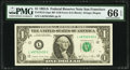 Fr. 1912-L $1 1981A Federal Reserve Note with Back Plate 129 at Left. PMG Gem Uncirculated 66 EPQ