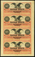 New Orleans, LA- Canal Bank $10-$10-$10-$10 18__ Uncut Sheet Choice About Uncirculated