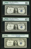 Small Size:Silver Certificates, Fr. 1619 $1 1957 Silver Certificates. Three Examples. PMG Graded Gem Uncirculated 66 EPQ; Superb Gem Unc 67 EPQ and No Grade.... (Total: 3 notes)