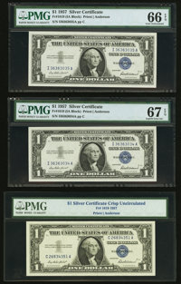 Fr. 1619 $1 1957 Silver Certificates. Three Examples. PMG Graded Gem Uncirculated 66 EPQ; Superb Gem Unc 67 EPQ and No G...