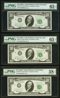 Fr. 2017-D; H; K* $10 1963A Federal Reserve Notes. PMG Graded Gem Uncirculated 65 EPQ (2); Choice About Unc 58 EPQ...