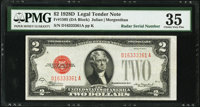 Radar Serial Number 16333361 Fr. 1505 $2 1928D Legal Tender Note. PMG Choice Very Fine 35