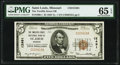 Saint Louis, MO - $5 1929 Ty. 1 The Twelfth Street National Bank Ch. # 12491 PMG Gem Uncirculated 65 EPQ