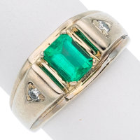 Gentleman's Emerald, Diamond, White Gold Ring