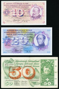 Switzerland Schweizerische Nationalbank Group of 9 Examples Very Fine-Choice Uncirculated. ... (Total: 9 notes)