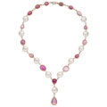 Estate Jewelry:Necklaces, Pink Sapphire, Diamond, Freshwater Cultured Pearl, Gold Necklace. ...