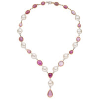 Pink Sapphire, Diamond, Freshwater Cultured Pearl, Gold Necklace