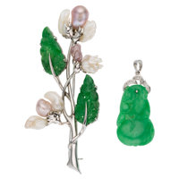 Jadeite Jade, Diamond, Freshwater Cultured Pearl, White Gold Jewelry ... (Total: 2 Items)