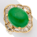 Estate Jewelry:Rings, Jadeite Jade, Diamond, Gold Ring The ring feat...