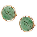 Estate Jewelry:Cufflinks, Jadeite Jade, Rose Gold Cuff Links. ...
