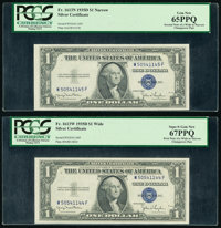 Changeover Pair Fr. 1613W/1613N $1 1935D Silver Certificates. PCGS Superb Gem New 67PPQ/Gem New 65PPQ