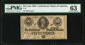 Confederate Notes:1864 Issues, T72 50 Cents 1864 PF-1 Cr. 578 PMG Choice Uncirculated 63.. ...