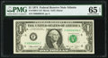 Low Serial Number 54 Fr. 1908-F $1 1974 Federal Reserve Note. PMG Gem Uncirculated 65 EPQ