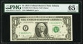 Low Serial Number 37 Fr. 1908-F $1 1974 Federal Reserve Note. PMG Gem Uncirculated 65 EPQ