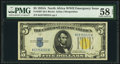 Small Size:World War II Emergency Notes, Fr. 2307 $5 1934A North Africa Silver Certificate. PMG Choice About Unc 58 EPQ.. ...