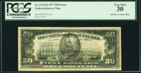 Full Face to Back Offset Error Fr. 2119-K $50 1977 Federal Reserve Note. PCGS Very Fine 30
