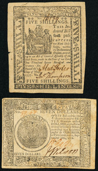Delaware May 1, 1777 5s Very Fine; Continental Currency September 26, 1778 $7 Very Fine. ... (Total: 2 notes)