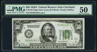 Fr. 2101-D $50 1928A Dark Green Seal Federal Reserve Note. PMG About Uncirculated 50