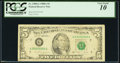 Solid Serial Number 55555555 Fr. 1980-G $5 1988A Federal Reserve Note. PCGS Very Good 10