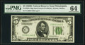 Fr. 1952-C $5 1928B Dark Green Seal Federal Reserve Note. PMG Choice Uncirculated 64