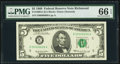 Low Serial Number 6606 Fr. 1969-E $5 1969 Federal Reserve Note. PMG Gem Uncirculated 66 EPQ