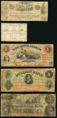 A Circulated Quintet of Obsolete Notes from Delaware, District of Columbia, Georgia, New Jersey, and Pennsylvania. Good...