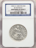 Five-Piece Lot of Seated Half Dollars, S.S. Republic -- Shipwreck Effect -- NGC. The lot includes: 1855-O S.S.... (Total...